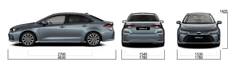 toyota corolla sizes